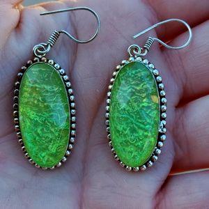 New Australian Triplet Opal 925 Silver Earring